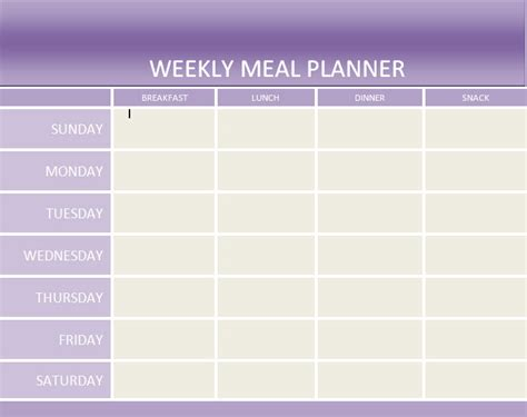 printable weekly menu planner template free printable meal planner template calendar template 2016