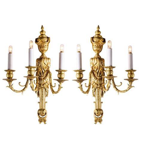 applique antiche coppia di applique antiche in bronzo dorato a 3 fiamme