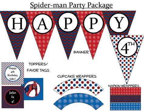 free printable happy birthday spiderman banner 50 off spiderman birthday party printable package 7