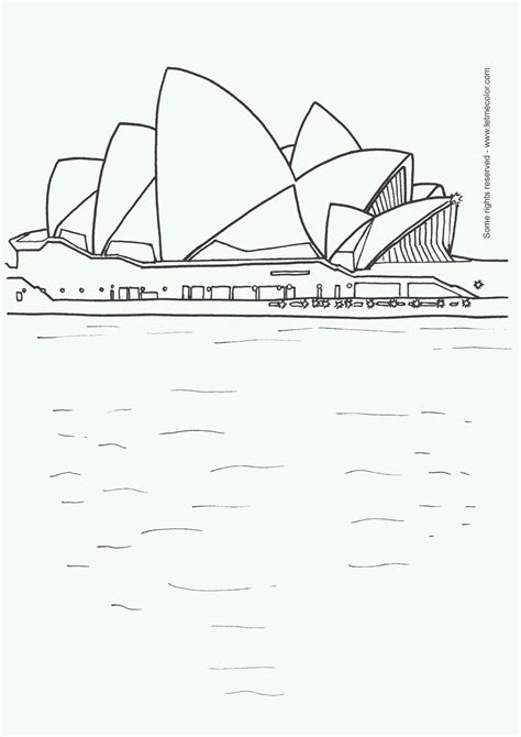 coloring page of sydney opera house september 2007 letmecolor