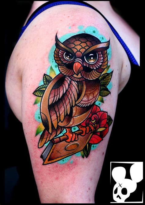 owl tattoo arm girl colorful owl arm tattoo best tattoo design ideas