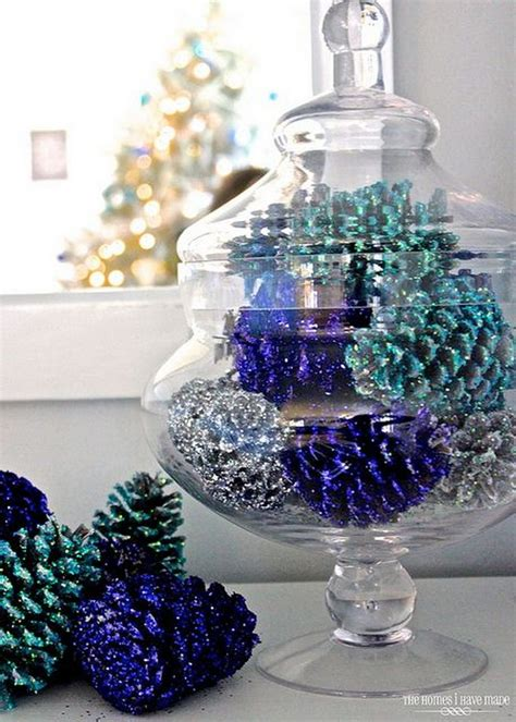 blue and silver cone christmas tree 30 festive diy pine cone decorating ideas hative