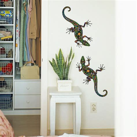 Wallsticker Wallstiker Animal Paradise Wall Paper Sticker Stiker 2 In 1 New Abstract Design Decorative Wall Decal Colorful Lizard Wall Sticker Removable Animal