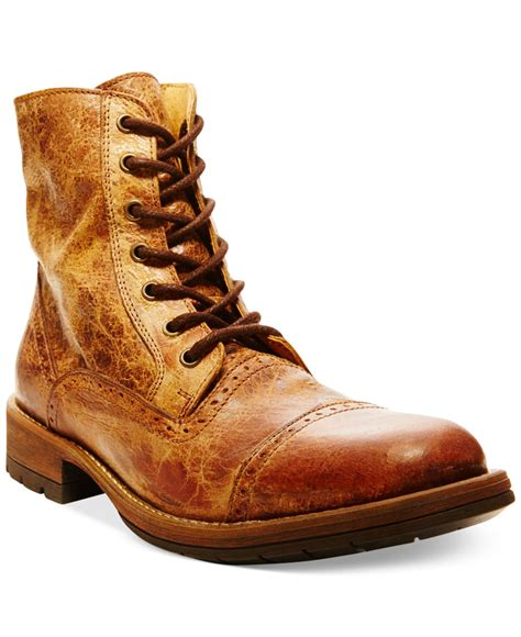 lyst steve madden nashh boots in brown for