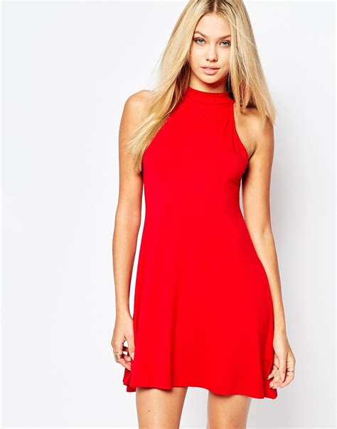high neck swing dress missguided high neck swing dress in red lyst