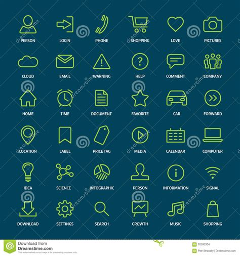 format eps signification set of basic green outline icons for print or web stock
