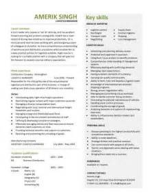 Resume Samples Logistics by Logistics Manager Cv Template Example Job Description