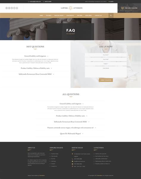themeforest faq lawyer attorneys modern law firm psd template by