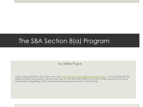 section 8 program application sba section 8a program the basics