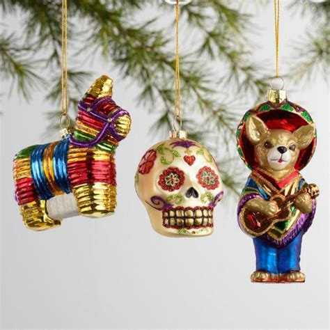 glass mexico boxed ornaments 3 pack world market