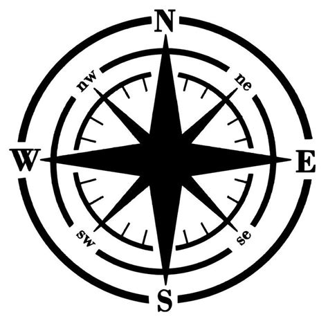 compass template printable compass wall silhouette cameo cliparts co