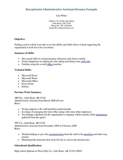 Receptionist Resume Objective by Receptionist Resume Objective Lifiermountain Org