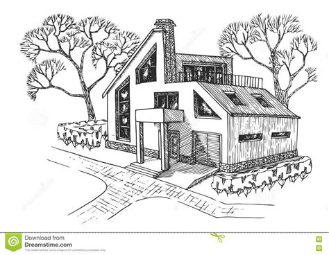drawing of a house with garage modern house with garage attic and terrace cottage with