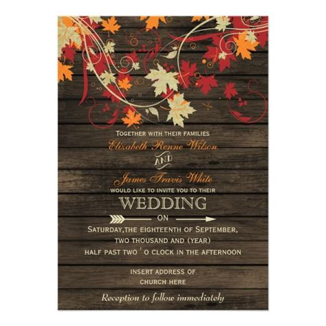 Cheap Fall Wedding Invitations by Barn Wood Rustic Fall Leaves Wedding Invitations