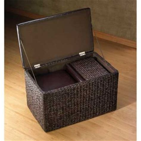 Wicker Storage Chest And Ottoman Set Coffee Table Padded Wicker Storage Ottoman Coffee Table