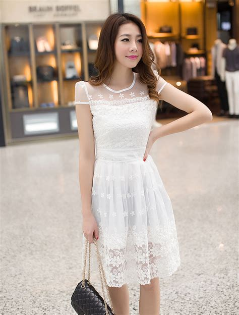 Mix Lace Slim White Size M L korean modern style collar gauze lace