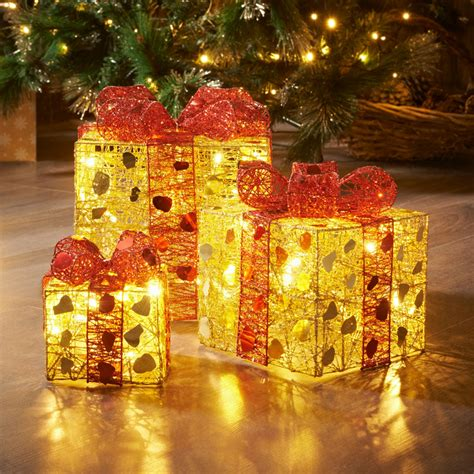 3 light up parcels gold red christmas room decorations