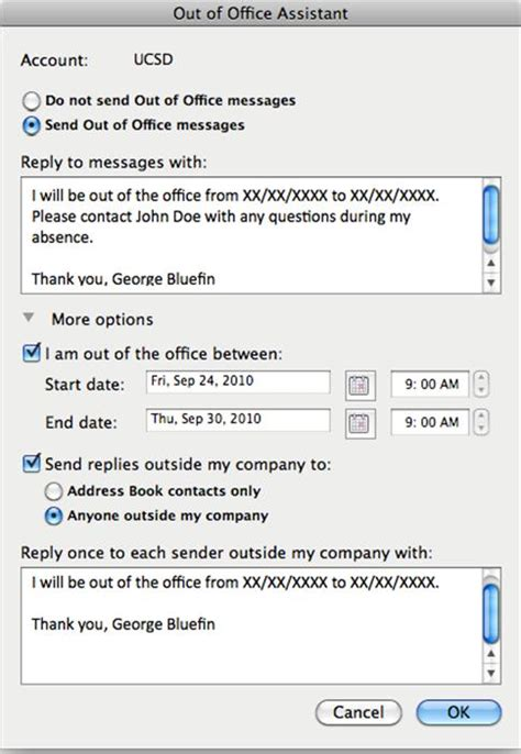 away message template setting up out of office messages in outlook 2011