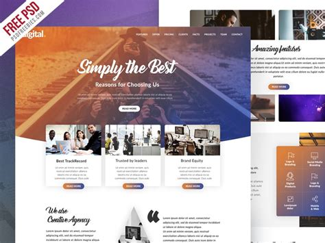 Free Creative Agency Website Psd Template Download Download Psd Free Project Website Templates