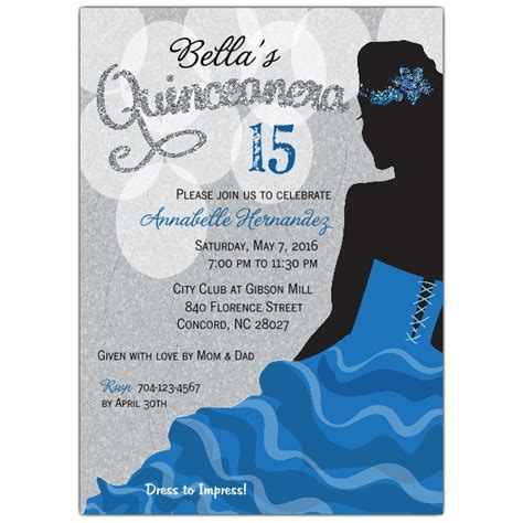 printable quinceanera birthday cards blue silhouette quinceanera party invitations paperstyle