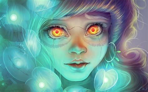 wallpaper anime eyes anime cyborg girl red eyes wallpaper