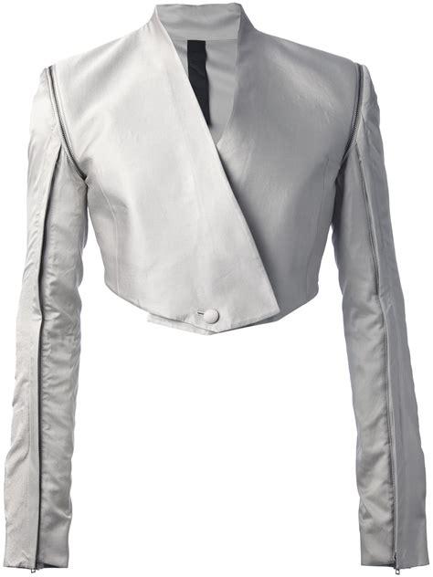 Crope Jaket Light Grey lyst gareth pugh cropped jacket in gray for