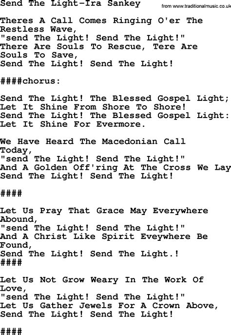 Send The Light Lyrics by Send The Light Ira Sankey Txt By Ira Sankey Christian Hymn Lyrics