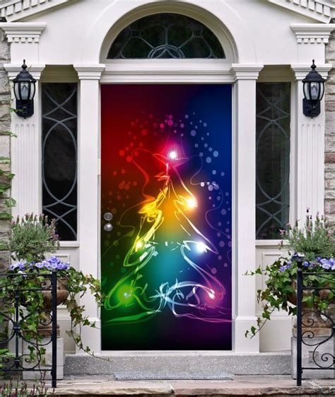 front door cover christmas decor 3d banner tree by decalhouse
