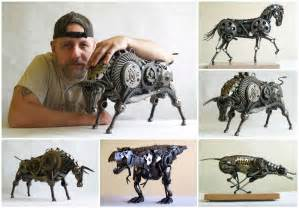 Recycled Home Decor Ideas Animal Sculptures Made Out Of Scrap Metal By Tomas