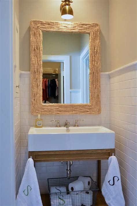 bathroom washstand bathroom with seagrass mirror and weathered oak single