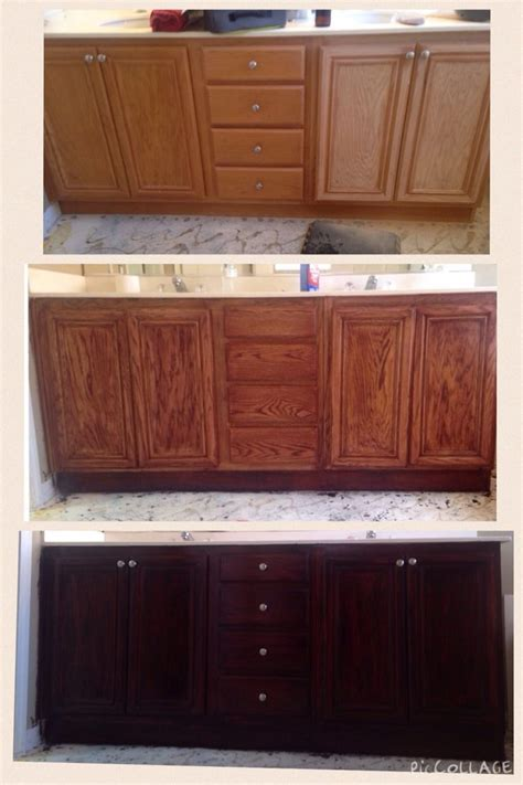 refinish cabinets step 1 varnish step 2 sand