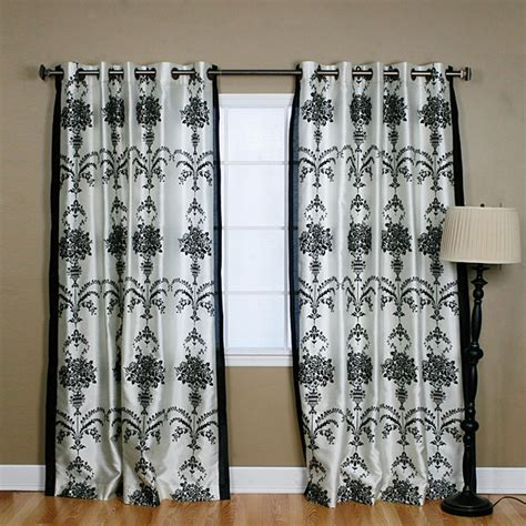 Damask Velvet Curtains Black Velvet 84 Inch Damask Curtain Contemporary Curtains By Overstock