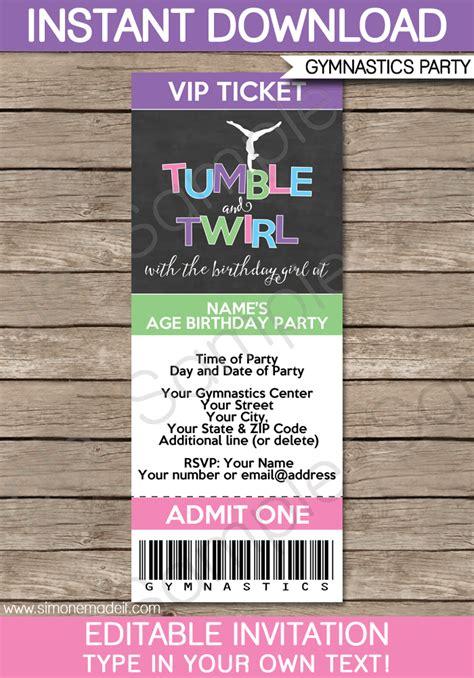 gymnastics party ticket invitations birthday party