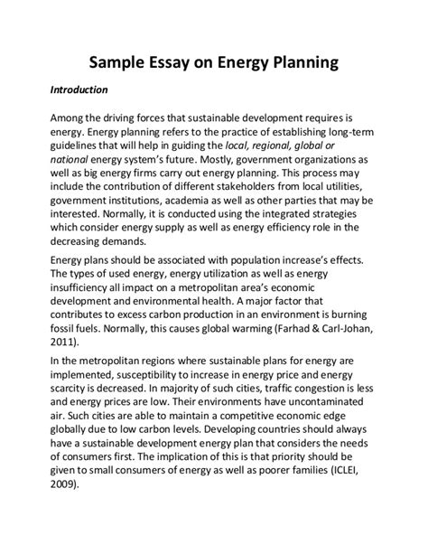 Energy Conservation Essays by Sle Essay On Energy Planning