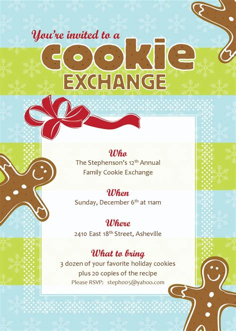 Christmas Cookie Exchange Cookie Invitations Templates