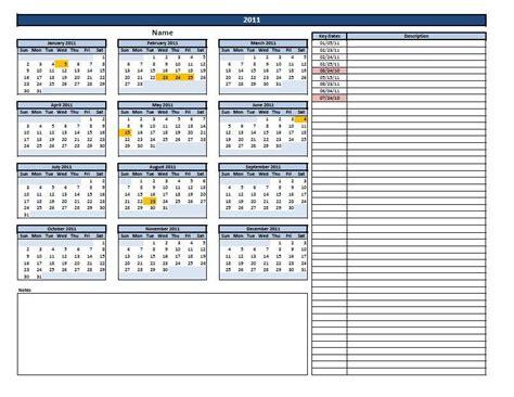 excel calendar  key  template
