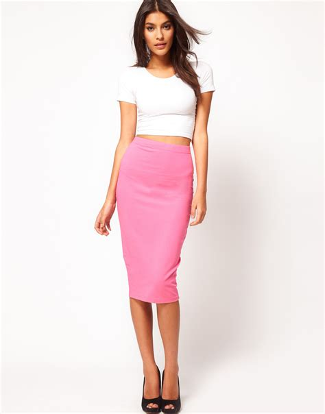 asos collection pencil skirt in longer length in pink lyst