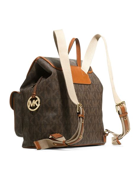 Backpack In Signature 38301 Brown lyst michael michael kors jet set signature pvc backpack in brown