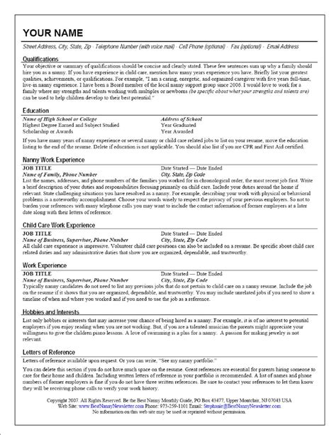 Resume Template For Nanny Nanny Resume Cv Resume Templates Exles