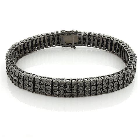mens 3 row black bracelet 0 62ct in sterling silver
