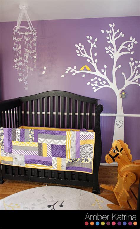 baby room ideas purple baby s nursery room purple grey and yellow birds nursery purple gray