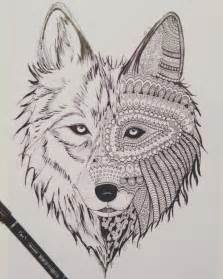 Wolf Zentangle Outline by Zentangle Wolf