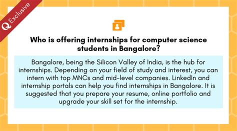 who is offering internships for computer science students