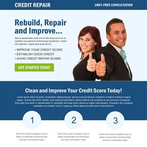 Clean And Creative Credit Repair Landing Page Design Credit Repair Landing Page Template
