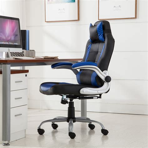 reclining gaming desk chair racing office chair reclining back game padded headrest pu