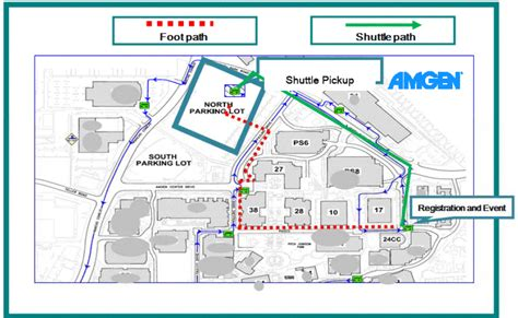 amgen thousand oaks cus map visitor parking at parking lot and shuttle to