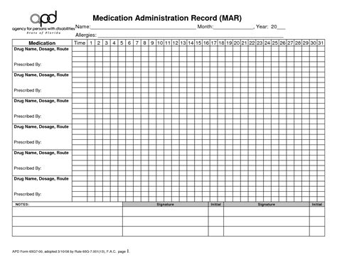 medication chart template free 6 best images of medication chart printable patient