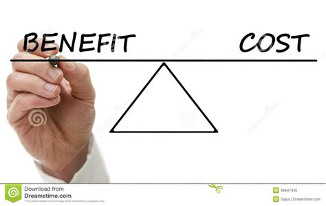 benefits of a diagram of a seesaw showing benefit and cost stock photo image 36647430