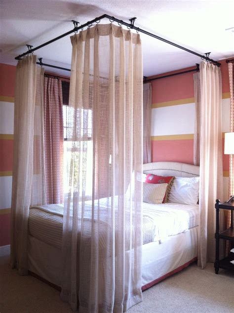 Ceiling hung curtains around bed bedrooms pinterest ceilings curtain rods and beds