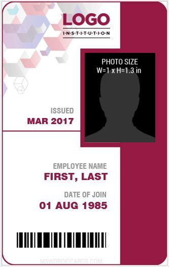 faculty id card template 10 best staff id card templates ms word microsoft word id card templates